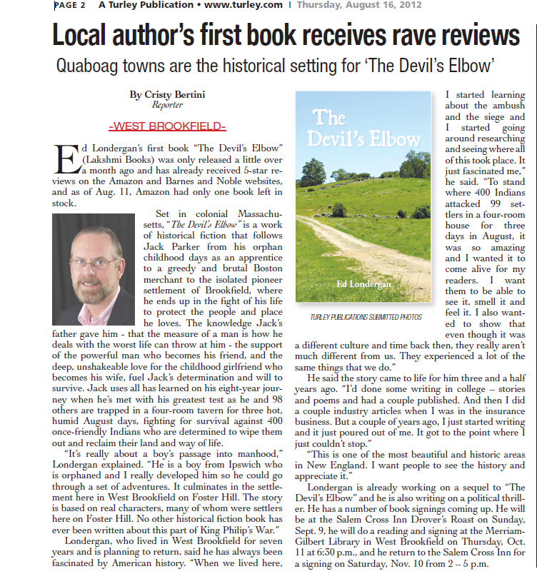 "Turley Newspaper article reviewing Ed Longergan's book ""The Devil's Elbow""."